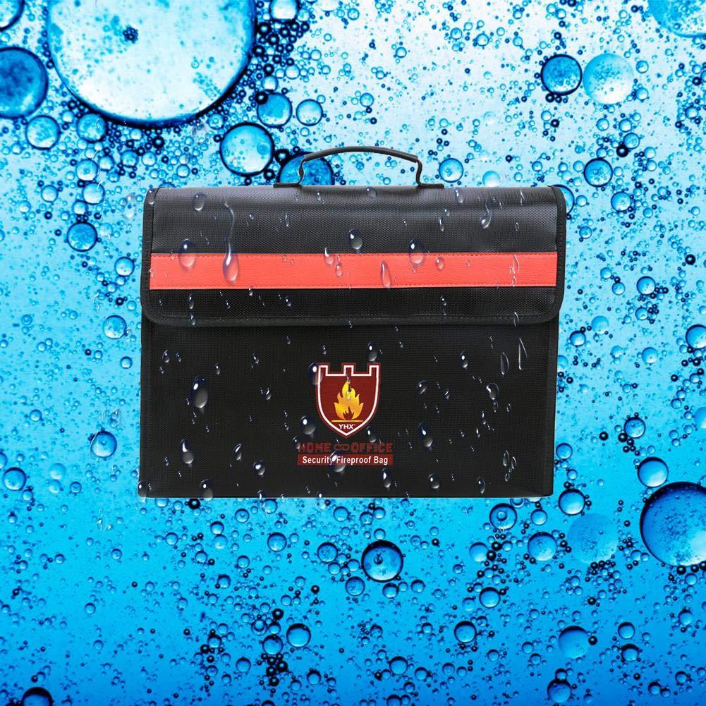 Schwarz A seasaleshop Feuerfeste Dokumententasche Wasserdichte Dokumententasche mit Verstellbarem Schultergurt Sch/ützt viele wichtige Dinge wie Laptop gegen 2000℉ Temperatur und Wasser