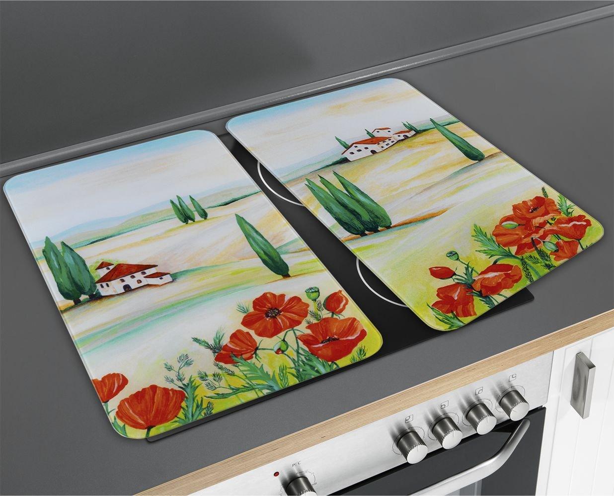 Wenko 2521457500 Cubiertas de Cocina Universal Toscana - Juego de 2 Piezas para Todos los Tipos de cocinas, Vidrio - Vidrio endurecido, 30 x 1,8-4,5 x ...