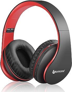 Rydohi V5.0 - Auriculares inalámbricos Bluetooth inalámbricos con micrófono Integrado, Micro SD/TF, Radio FM para teléfono móvil, PC, TV, Viajes Negro y Rojo: Amazon.es: Electrónica