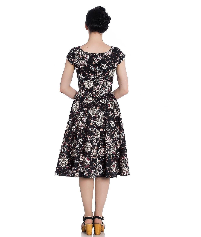 Hell Bunny Idaho Sugar Skull Floral 50s Black Dress