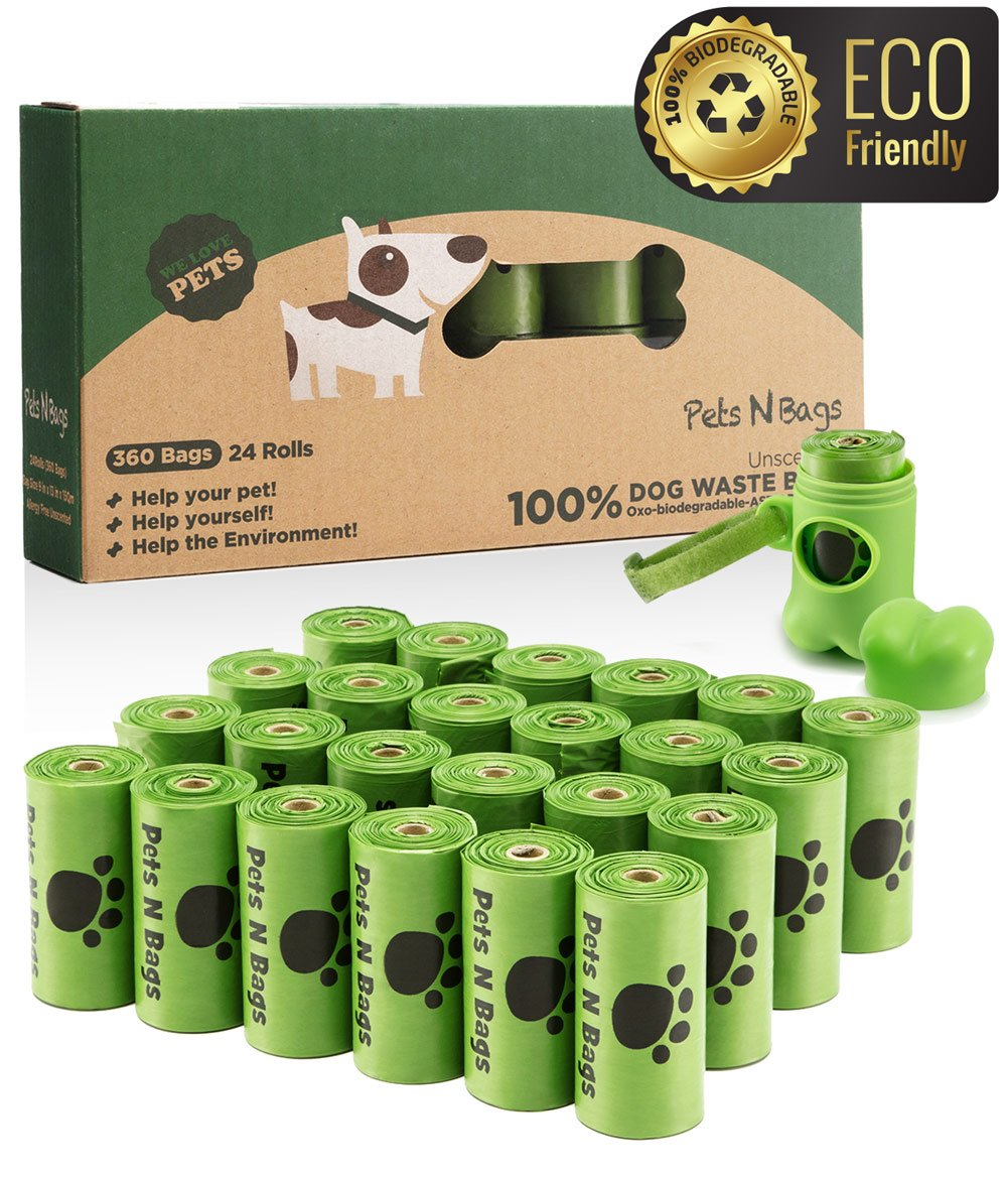 Pets N Bags Dog Poop Bags, Dog Waste Bags, Biodegradable Unscented Refill Rolls, Includes Dispenser by Pets N Bags