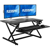 FLEXISPOT Height Adjustable Standing Desk Converter | 35 inch Stand Up Desk Riser, Black Home Office Desk Workstation for Dua