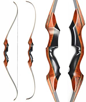 Toparchery Traditional Recurve Bow Hunting Takedown Bow Wooden Bow Riser  Black Limbs For Right Hand 30-60lbs