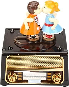 Bewinner Caja de música Retro 2 en 1, Forma de Radio con muñecas ...