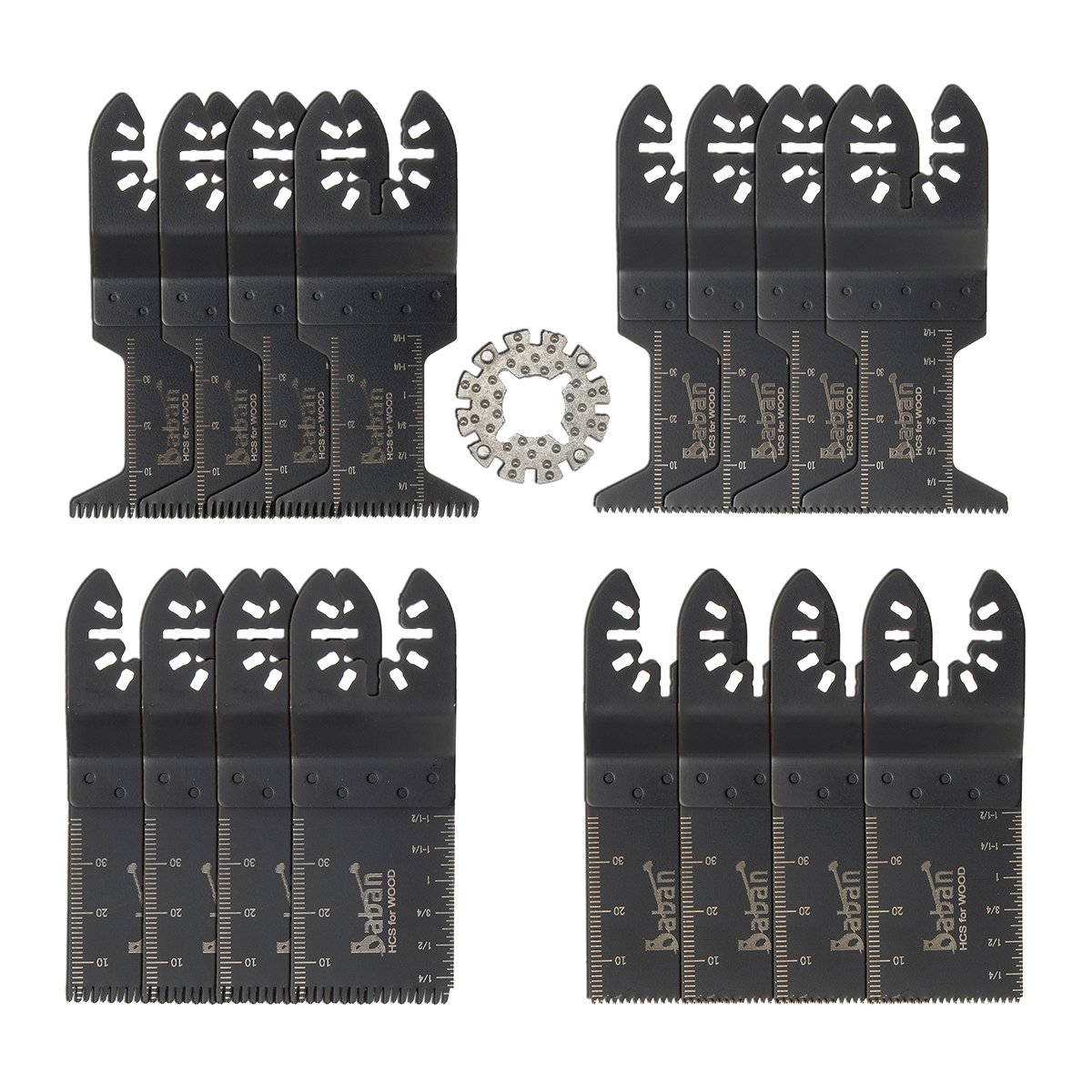 Saw Blades, Baban 17 Pcs Multitool Blades Wood/Soft Metal Mixed Oscillating Quick Release Saw Blades Compatible with Dewalt, Dremel Multi-Max, Bosch, Fein, Black and Decker, Chicago, Craftsman Bolt-on