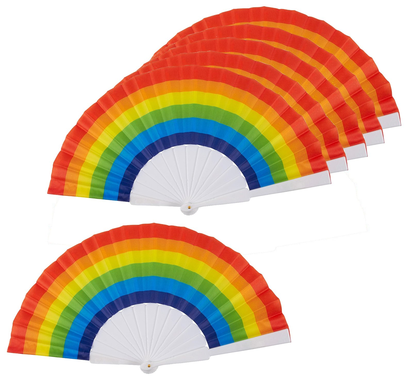 Juvale Rainbow Fans - Pack of 6 - Rainbow Party Supplies - Ideal Rainbow-Themed Parties LGBT Gay Pride Events, 9.25 x 1.25 x 0.75 inches