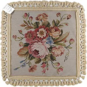 YK210-20 Floral Embroidered Decorative Cushion, Home Decor, 16x16 Inches