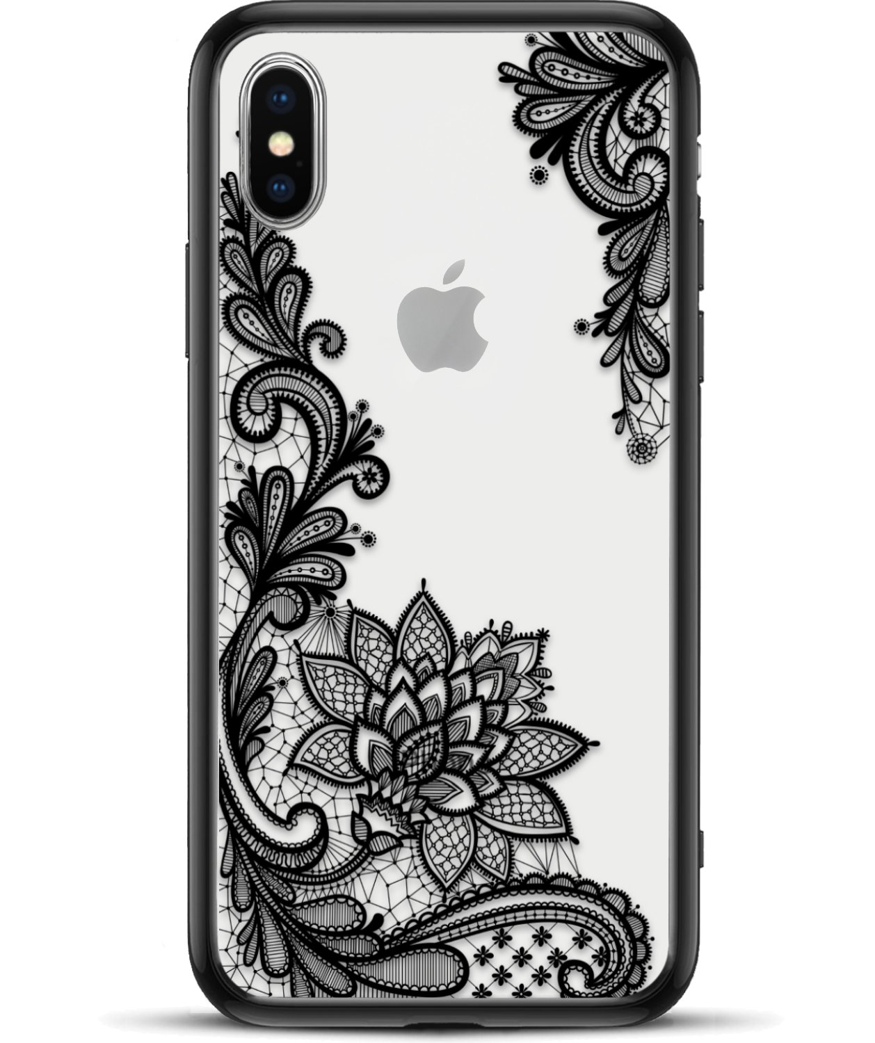 Apple Iphone Xs Max Slim Fit Phone Case For Girls Women With Cute Black Flowers Design Ultra Thin Matte Hard Plastic Case Cover And Protective