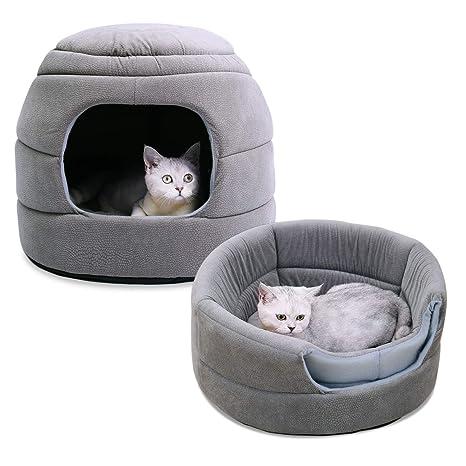 Speedy Pet - Sofá Cama 2 en 1 para Perro, Cama Antideslizante con cojín Desmontable, Lavable, Cama Igloo, Cesta Suave para Perro y Gato, Color Gris