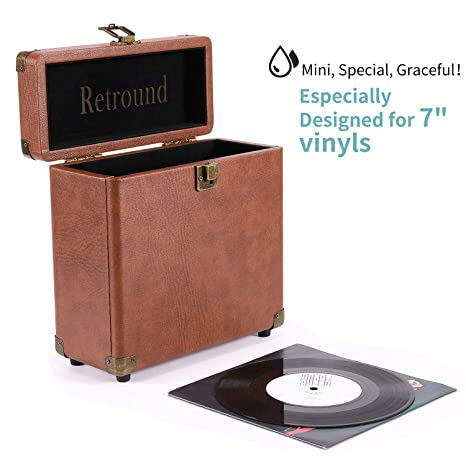 Retround Vintage Vinyl Record Storage, Retro Leather Carrying Case for 25+,  45rpm Records Albums (Dust/Scratch Free)-7Inch (Brown)