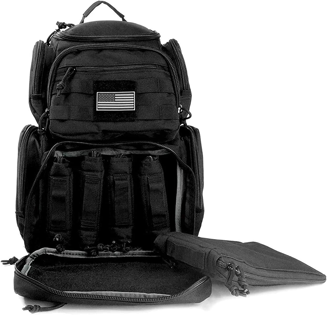 NiceAndGreat Tactical Shooting Range Backpack Carries 5 Handguns Ammo Pouches and Magazine Pockets for Pistols Thick Heavy Duty Gun Carrier Range Bag