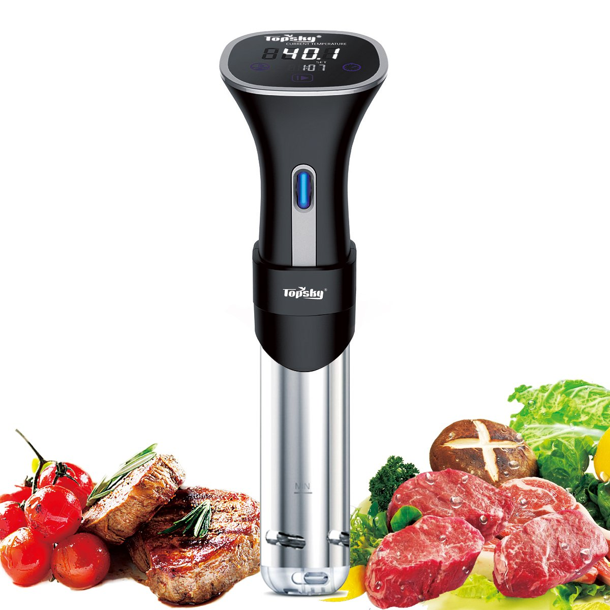 Topsky Sous Vide Cooker, Thermal Immersion Circulator Machine with Large Digital LCD Display, Time and Temperature Control, Quiet & Accurate, Stainless Steel, 800 Watts