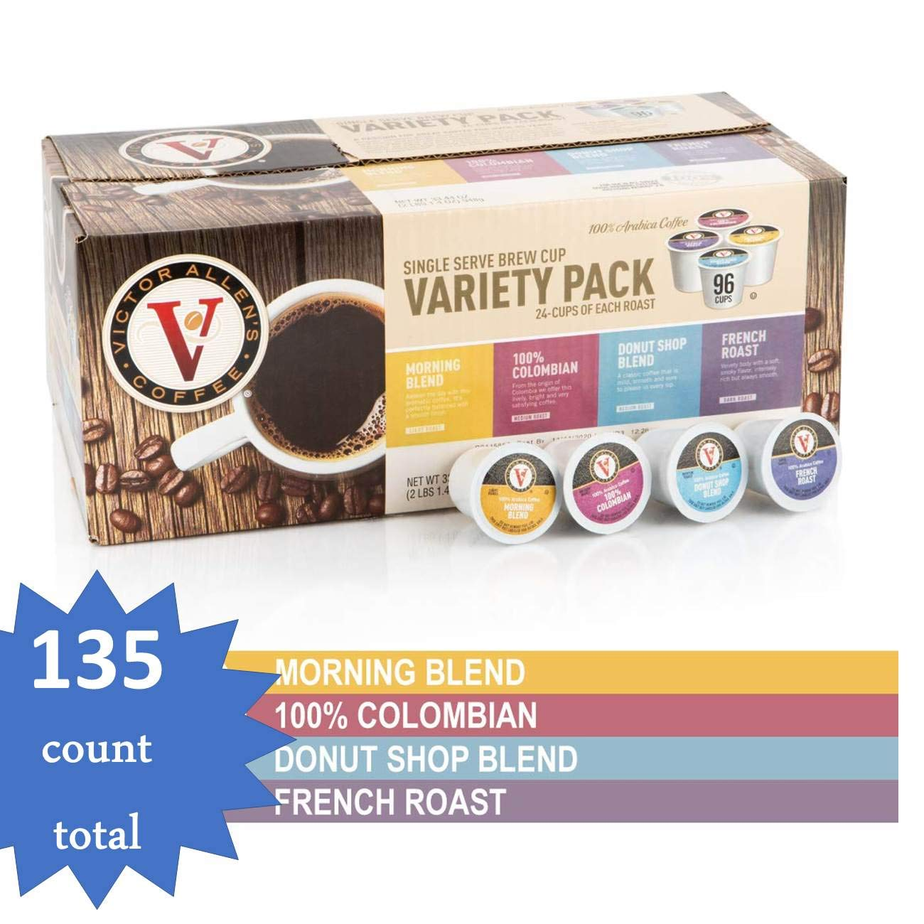 Donut Shop, Morning Blend, 100% Colombian, and French Roast Variety Pack for K-Cup, Keurig 2.0 Brewers, 135 Count total Victor Allens Coffee Single Serve Coffee Pods (Unflavored- 135 Count) by Victor Allen