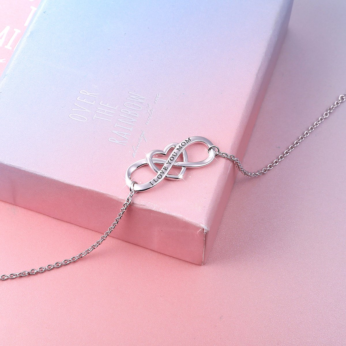 """SILVER MOUNTAIN S925 Sterling Silver """"I Love You Mom """" Heart Infinity Bracelet for Mother by SILVER MOUNTAIN (Image #5)"""