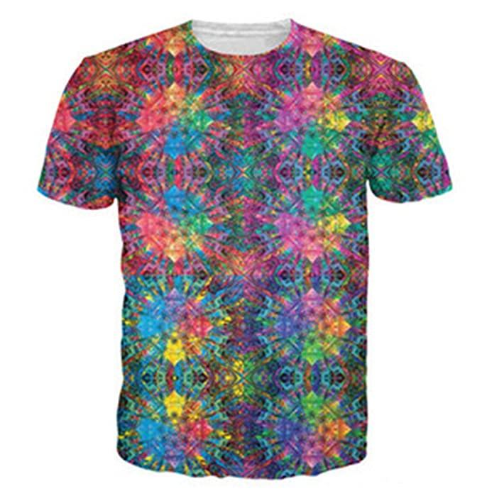 DNSDXCY Flashback Color Psychedelic 3D Print Female/Male Hip-Hop Casual T-Shirt