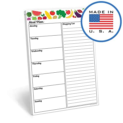 321done meal planning pad fruit vegetable made in the usa50 sheets 55quot