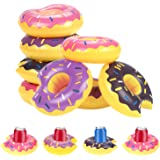 MyLifeUNIT Inflatable Donut Pool Floats for Drinks, Party Pool Drink Holder Floats, 12 Pack