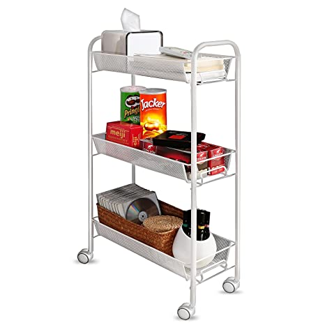 Creatwo Rolling Cart 3 Tier Metal Kitchen Cart Utility Cart On Wheels For  Kitchen/Bathroom