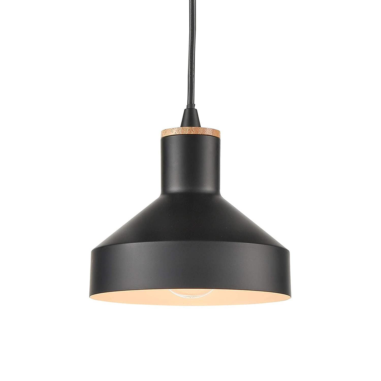 Light society vedder mini pendant light matte black with natural wood accent vintage modern farmhouse lighting fixture ls c144 amazon com