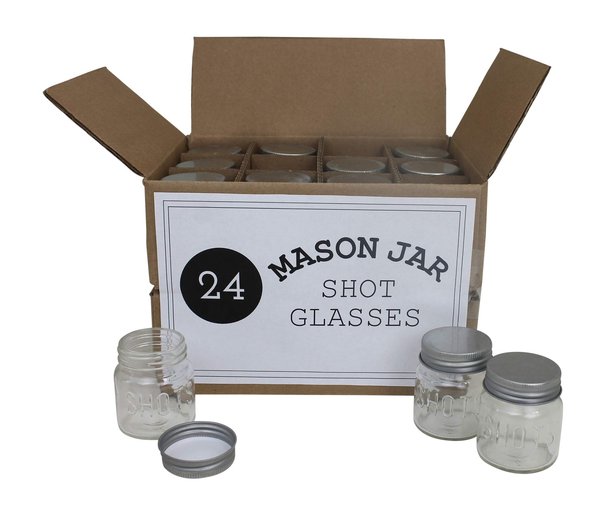 Mason Jar 2 Ounce Shot Glasses Set of 24 With Leak-Proof Lids - Great For Shots, Drinks, Favors, Candles And Crafts by Mason Jar Warehouse