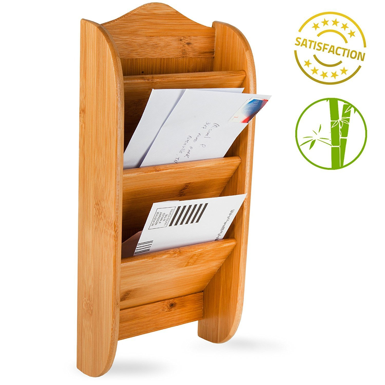 Home Intuition Wall Mount Bamboo Mail Organizer Letter Holder Rack, 3 Slot LR08412