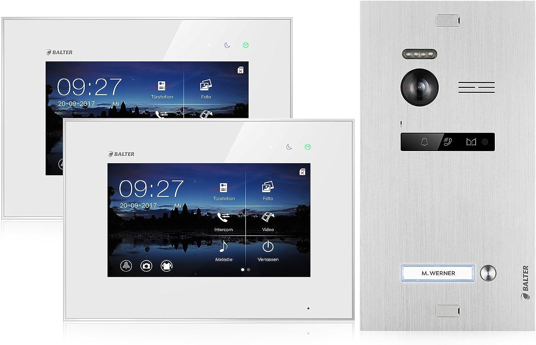 BALTER EVO Video Türsprechanlage ✓ 2 x Touchscreen 7 Zoll Monitor ✓ Smartphone App ✓ 2-Draht BUS ✓ Türstation für 1 Familienhaus Türklingel ✓ 150° Weitwinkel-Kamera (2 Monitore mit App): Amazon.de: Baumarkt - Funkklingel mit Kamera