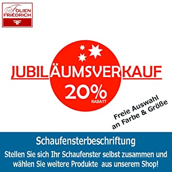 Sh262 Jubilaumsverkauf 20 Rabatt Schaufensteraufkleber