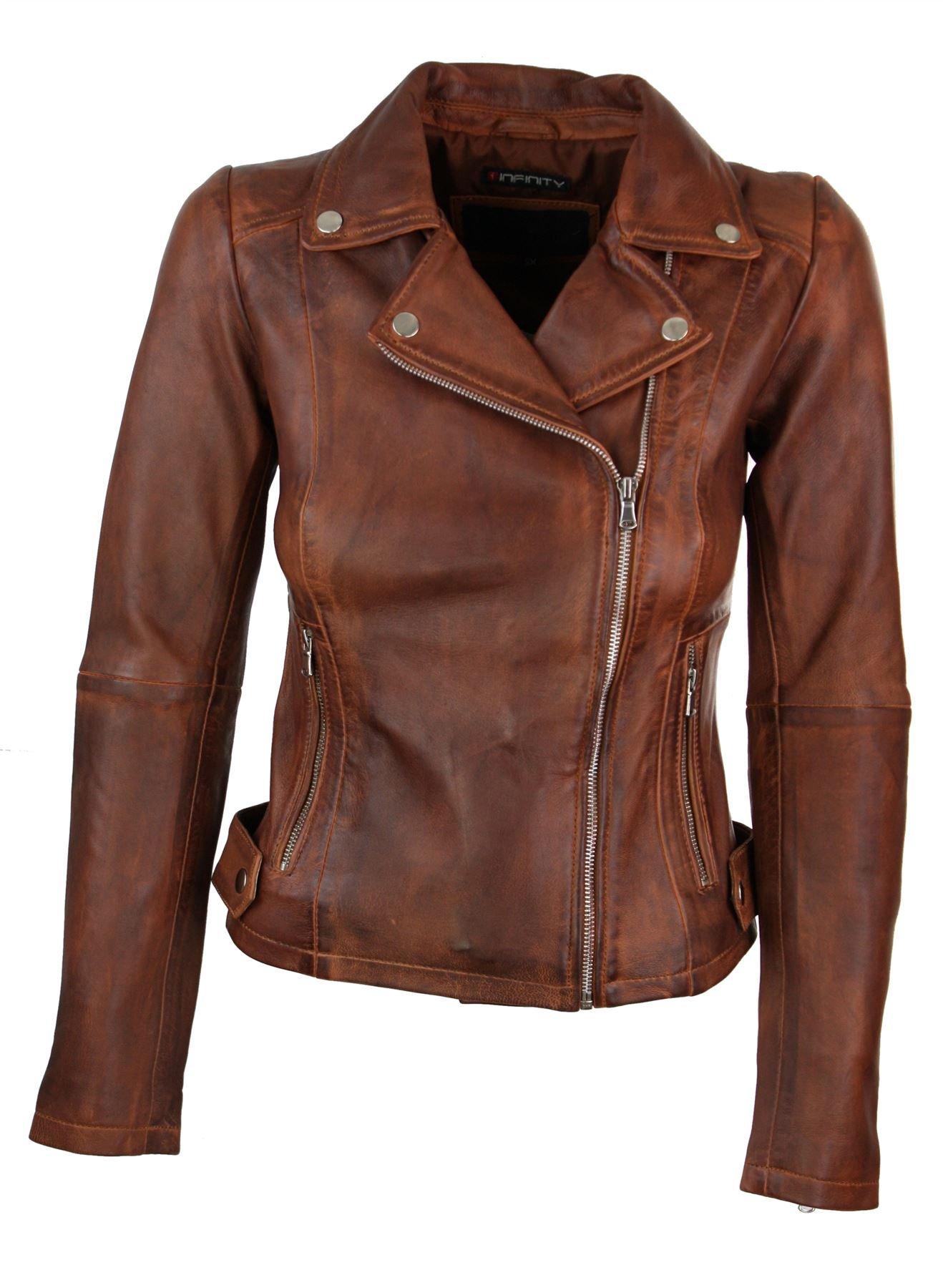 Infinity Brando' Ladies Women Timber Brown Classic Biker Style Leather Jacket