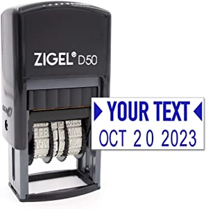 ZIGEL D50 Date Stamp with Your Custom Text - Self Inking Date Stamp - Blue