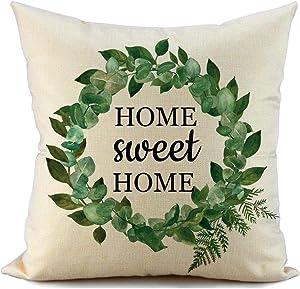 FIBEROMANCE Spring Pillow Cover 18x18 Home Sweet Home Garden Wreath Farmhouse Throw Pillow Covers Pillow Case Cushion Covers for Sofa Couch Spring Home Décor Decoration