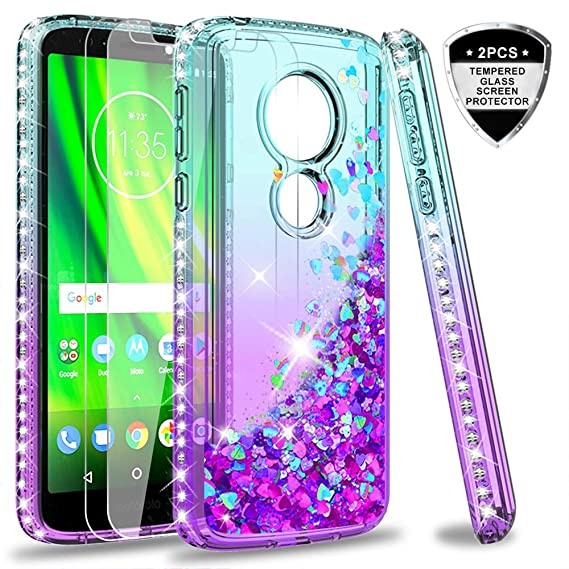 low priced 1bde8 22f58 Moto G6 Play Case (Not Fit Moto G6), Moto G6 Forge Case with Tempered Glass  Screen Protector [2 Pack] for Girls Women, LeYi Glitter Diamond Liquid ...