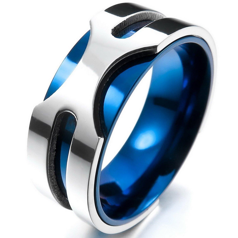 MENDINO 8 mm-Anello a fascia da uomo in acciaio inossidabile color argento e blu, ideale per matrimoni, con 1 ciondolo elegante sacchetto di velluto JRG0069BL UK