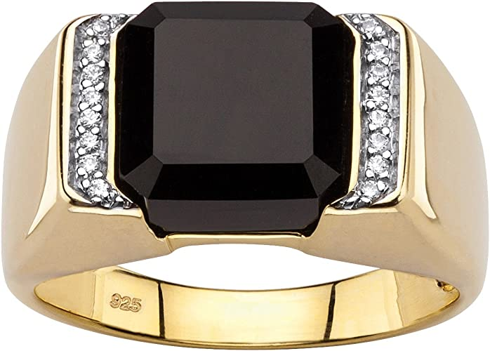 Mens Classic Oval Onyx /& Diamond Ring Set in Yellow Gold Plated Silver