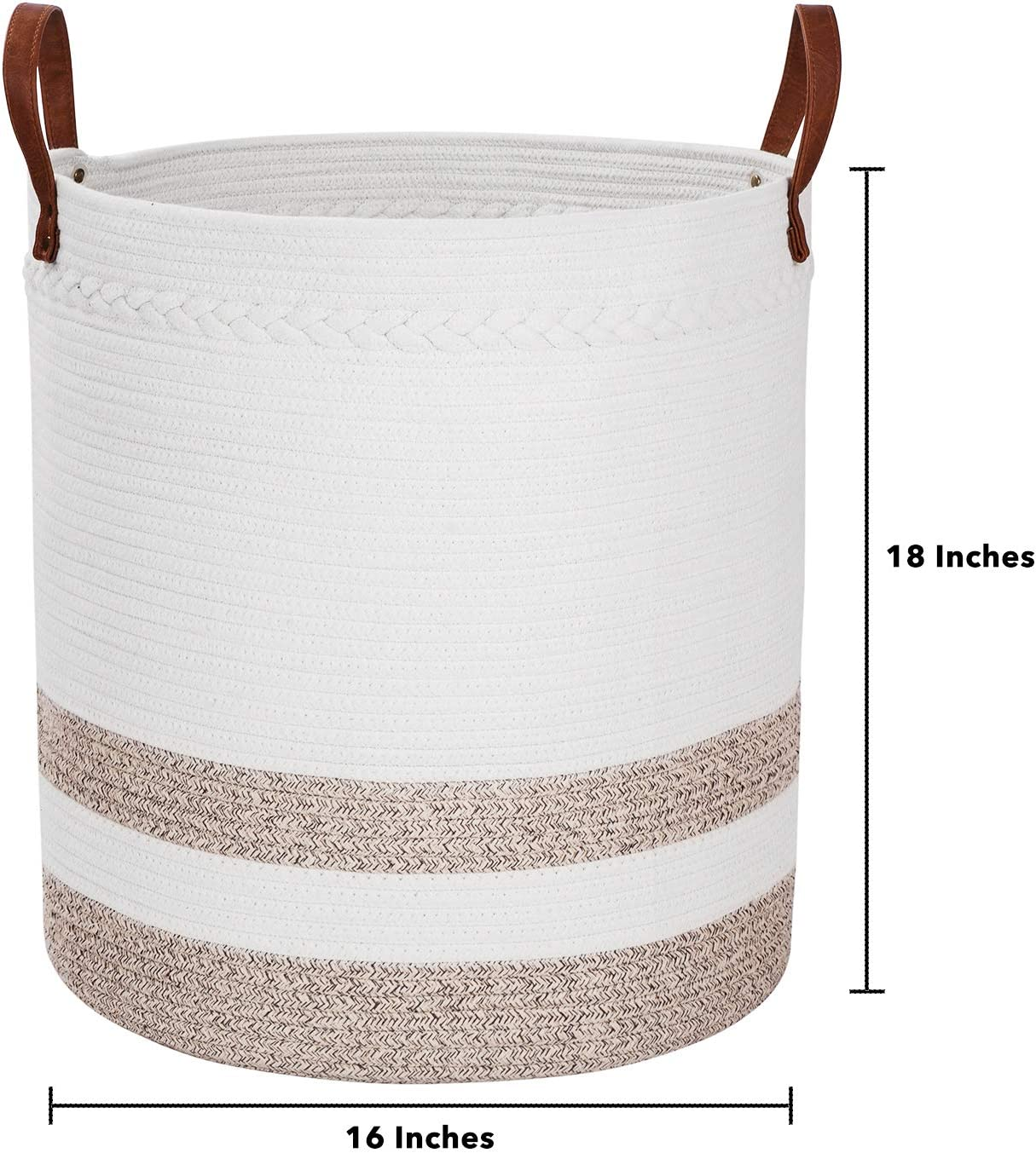 Amiglo Cotton Rope Basket 18 x 16 Extra Large Decorative Woven Storage Basket for Baby Toys Comforter Cushions Nursery Bin Laundry Hamper with Leather Handle Blanket Pillows Sofa Throws Towels