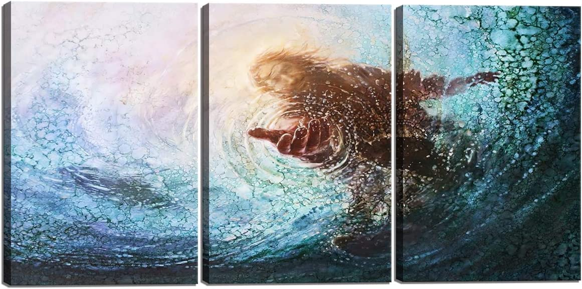 Hand of Jesus Under Water Teal Blue Print on Canvas 3 Panel Christian Home Decor for Bedroom Living Room Sea Pictures Wooden Framed Ready to Hang(20