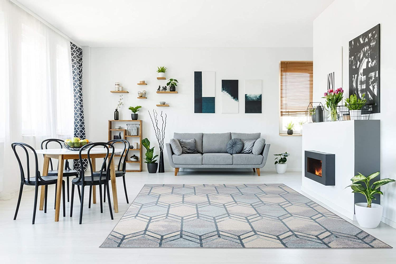 Ladole Rugs Stella Ivory Blue Grey Honeycomb Pattern Area Rug 5 3 X 7 3 Amazon Ca Home Kitchen