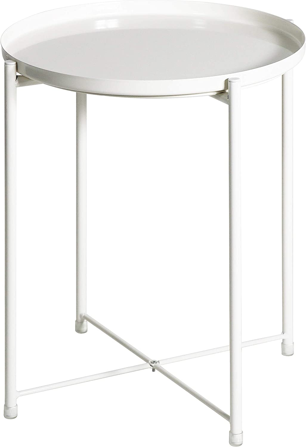 Side Table Tray Metal End Table Round Foldable Accent Coffee Table for Living Room Bedroom (Large, White)