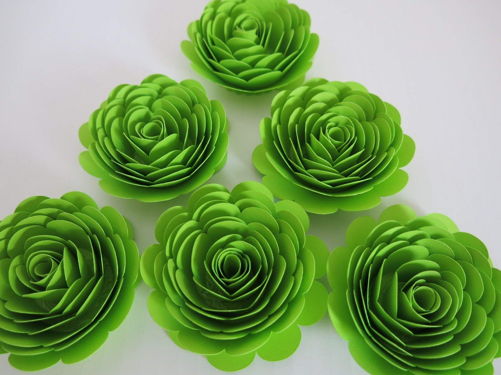 silk flower arrangements neon green paper flowers 3 inch roses set of 6 lime green skating party decorations wedding decor table centerpiece teen bedroom