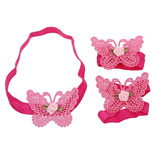 Hair Accessories White Lace Butterfly Pale Pink Lace Headband *new* Hair Accessories