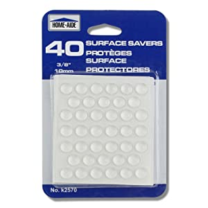 "40pc 3/8"" Surface Saver Plastic Adhesive Bumper Pads - Protects Floors & Furniture"