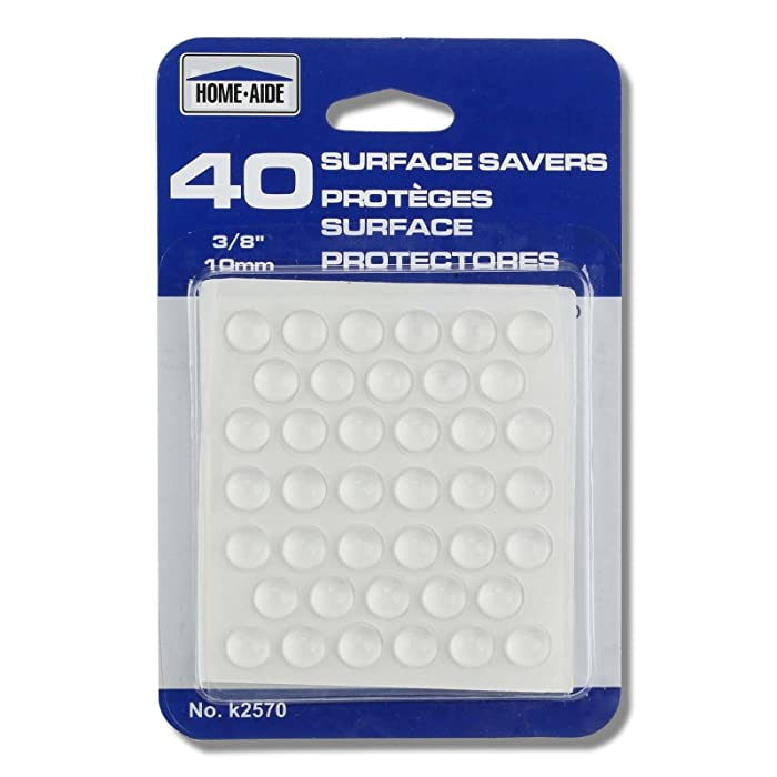 """40pc 3/8"""" Surface Saver Plastic Adhesive Bumper Pads - Protects Floors & Furniture"""