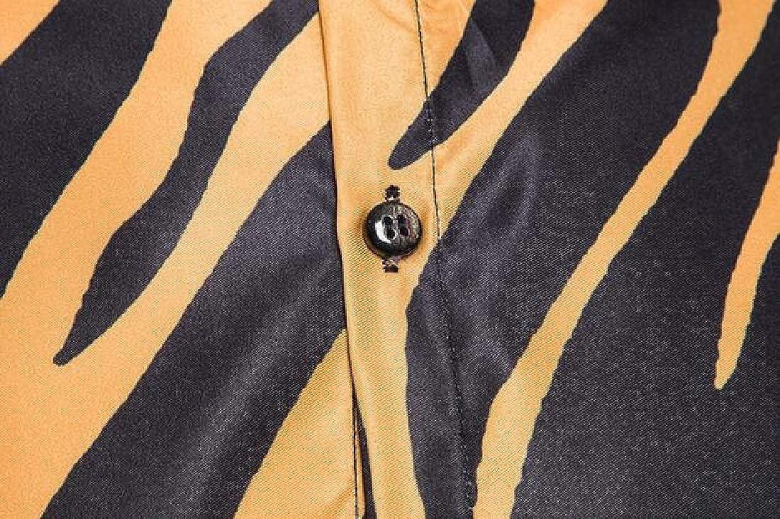 UUYUK Men Relaxed Fit Button Down Casual Print Long Sleeve Dress Shirt Top