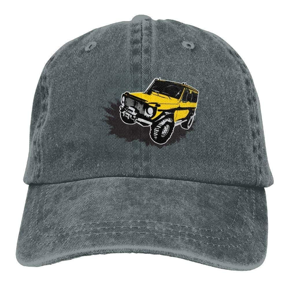 JTRVW Cowboy Hats Painted Yellow Jeep Car Denim Hat Adjustable Womens Low Baseball Hats