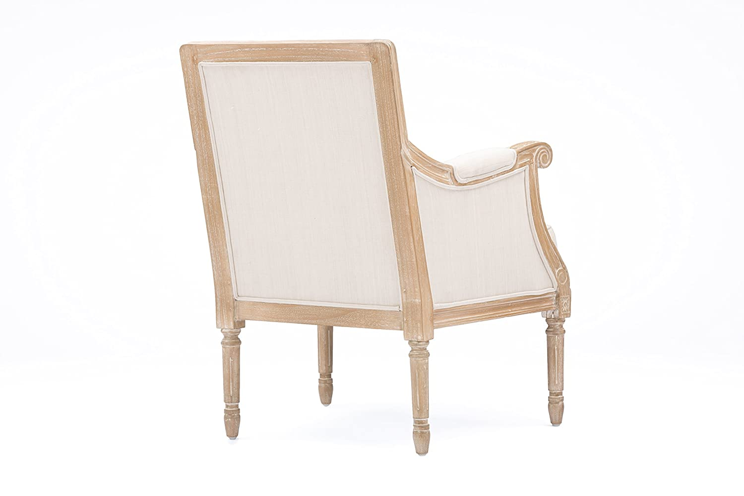 Baxton Studio Chavanon Wood and Linen Traditional French Accent Chair Light Beige Wholesale Interiors ASS500Mi CG4