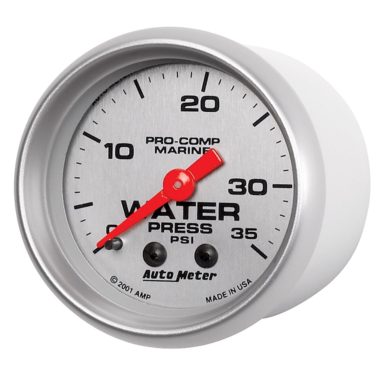 Silver Dial Face Brushed Aluminum Bezel AutoMeter 200772-33 Marine Mechanical Water Pressure Gauge 2-1//16 in