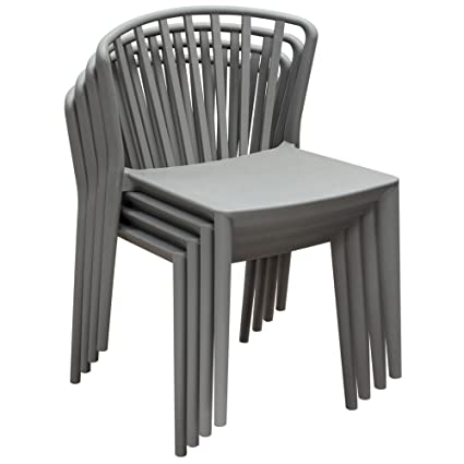 Awe Inspiring Amazon Com Pax 4 Pack Indoor Outdoor Accent Chairs In Grey Gmtry Best Dining Table And Chair Ideas Images Gmtryco