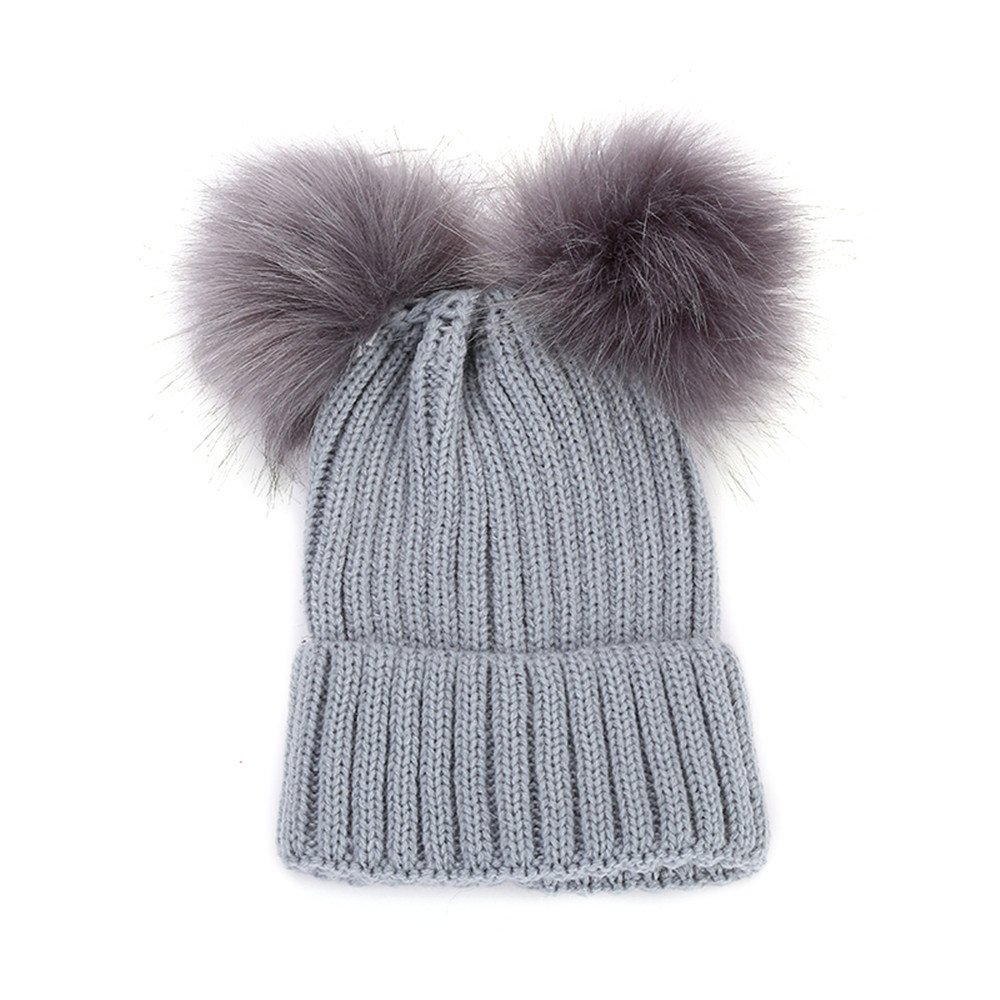 Clearance! Toddler Baby Girls Winter Winter Wool Knit Hat Lovely Raccoon Fur Double Big Ball Pompom Bobble Ski Cap Headwear (Navy, one-Size) Challyhope
