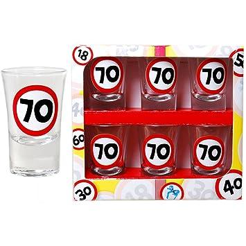 70 cumpleaños Chupito 6 pieza regalo Idea Blanco de rojo 4 ...