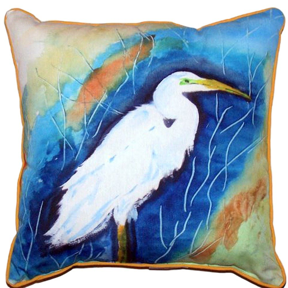 Betsy Drake HJ399 Egret Right Indoor/Outdoor Pillow 18' x18'