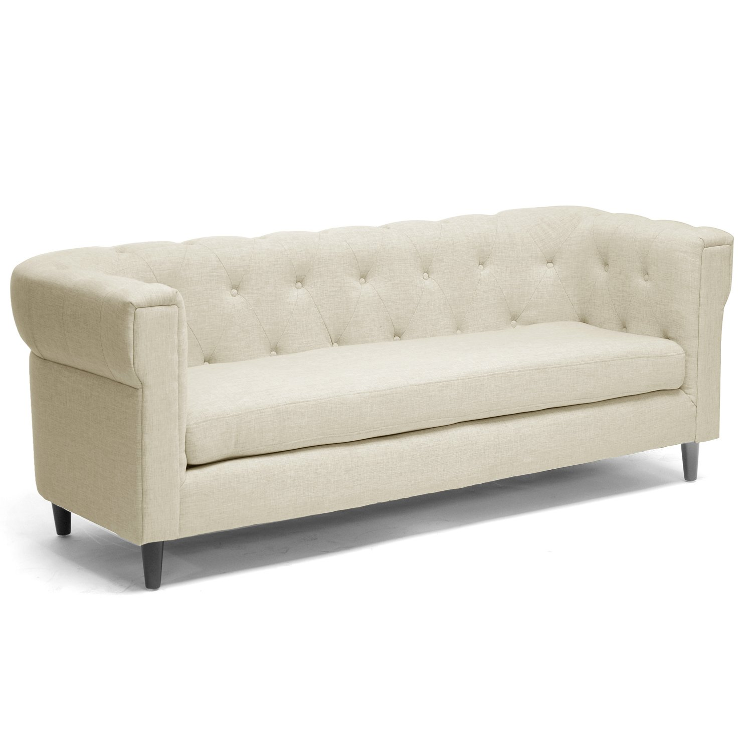 Amazon Baxton Studio Cortland Linen Modern Chesterfield Sofa